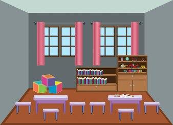 Sala de aula de escola de jardim de infância interior