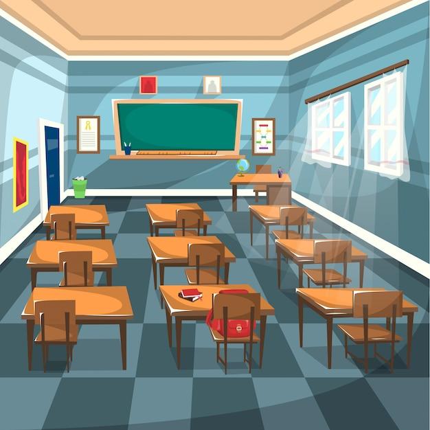Sala de aula do ensino médio com placa verde de giz