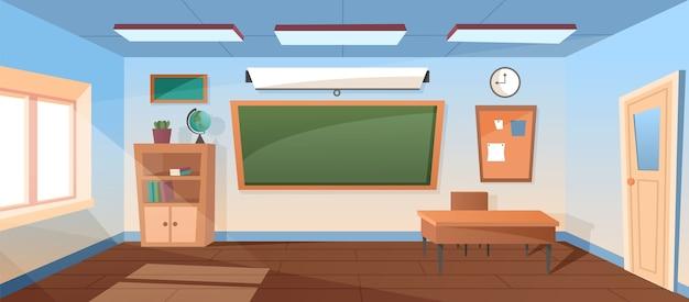 Sala de aula escolar vazia de desenho animado