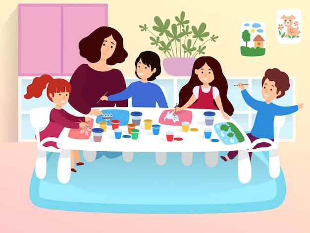 Sala de aula jovem moderna, professor de jardim de infância feminino personagem estudando com crianças criativas cartoon ilustração.