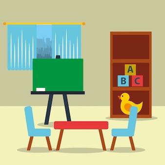 Sala de aula kinder lousa cadeira de mesa brinquedos