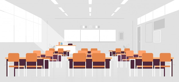 Sala de aula moderna interior vazio sem pessoas escola sala de aula com placa e mesas