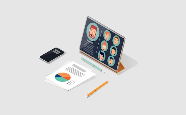 Sala de aula online com tablet em isométrico