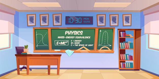 Sala de aula para aprendizagem de física com fórmula e gráfico no quadro-negro