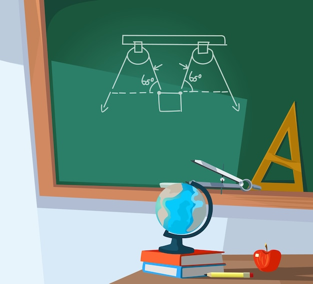 Sala de aula vazia e quadro-negro com fórmula.