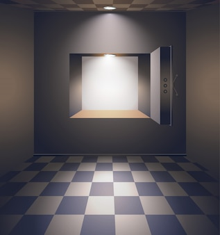 Sala de banco com cofre