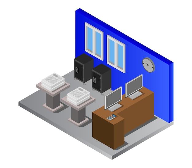 Sala de banco isométrica