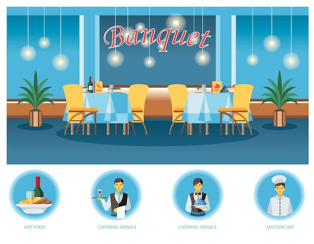 Sala de banquetes, hall ilustração plana