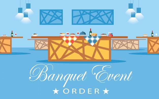 Sala de banquetes, ilustração em vetor plana hall