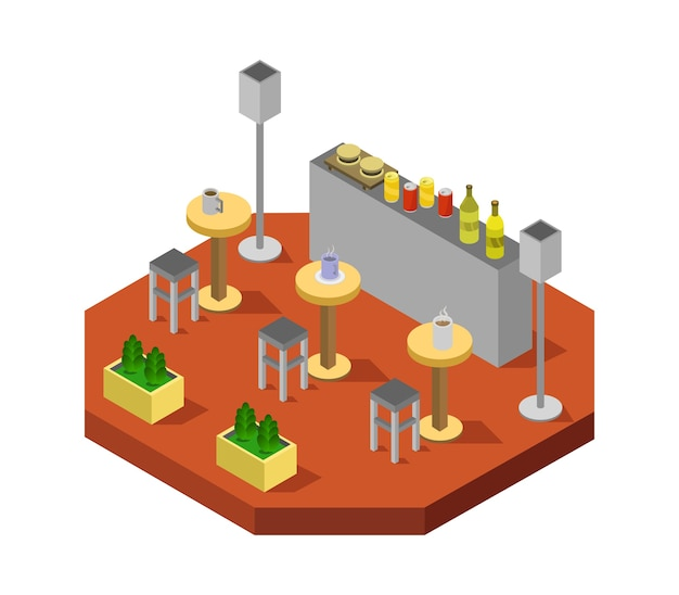 Sala de bar isométrica