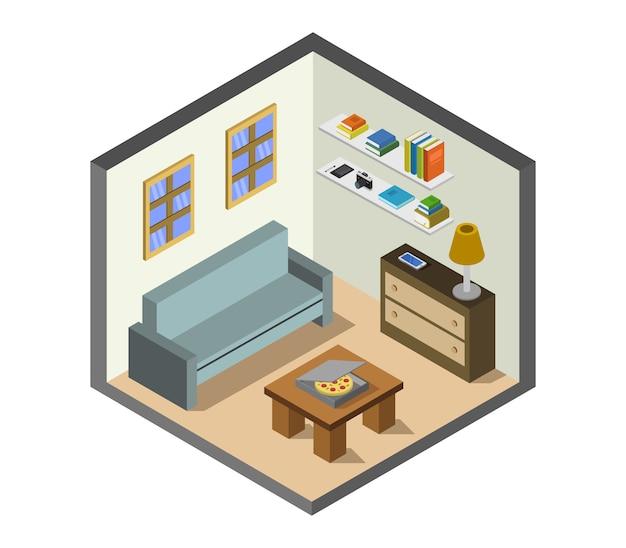 Sala de casa isométrica