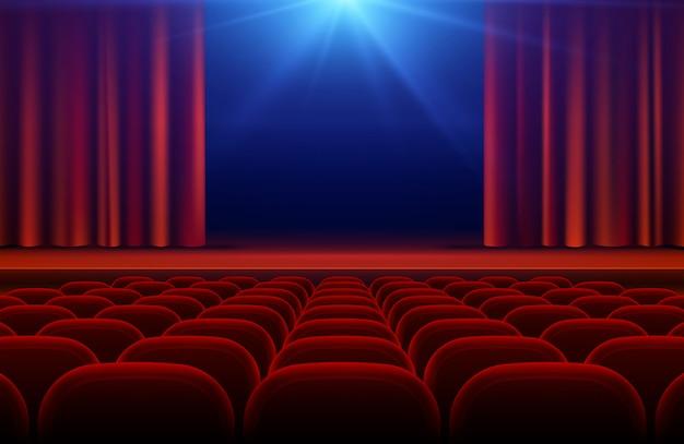 Sala de cinema ou teatro com palco, ilustração de vetor de cortina vermelha e assentos