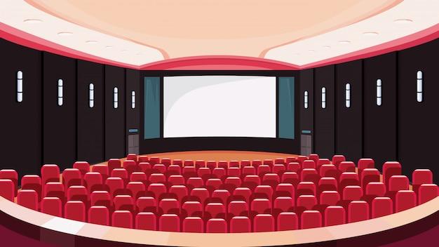 Sala de cinema vazia. cinema com tela branca.