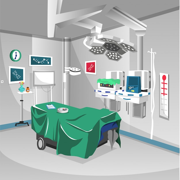 Sala de cirurgia no hospital com equipamento de operação da lâmpada