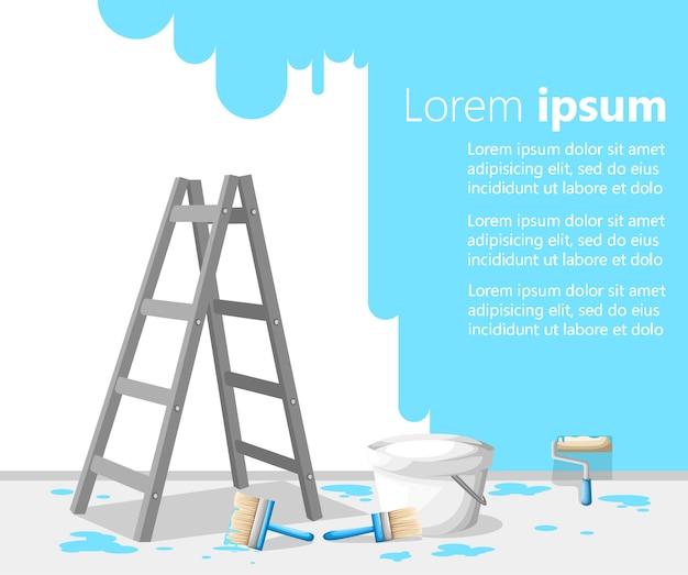 Sala de conceito de design de interiores cheia de ferramentas de construção e um esboço desenhado na parede na ilustração de fundo branco