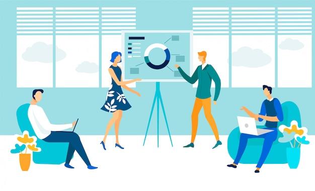 Sala de conferências de negócios reunião ilustração plana