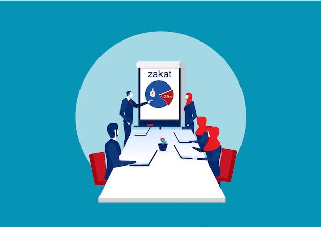 Sala de conferências de negócios sobre zakat com gerentes de pessoas