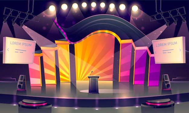 Sala de conferências, palco para apresentação, cena