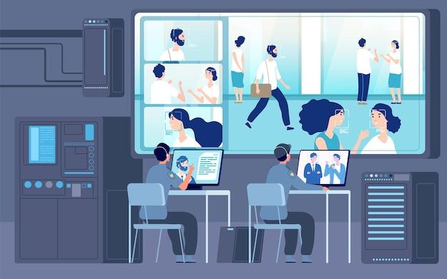 Sala de controle. trabalhadores de segurança à procura de câmera, serviço de cctv. monitoramento digital de identificação de pessoas, ilustração vetorial de vigilância ou escritório de guarda. cctv e segurança de guarda, câmera de uso de vigilância