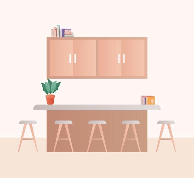 Sala de cozinha com planta de cadeiras e design de livros, decoração de interiores, sala de estar, apartamento e tema residencial