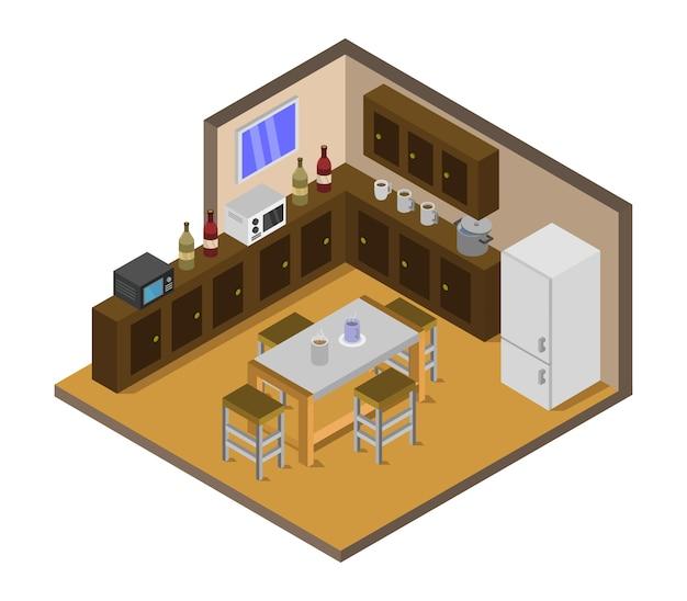 Sala de cozinha isométrica