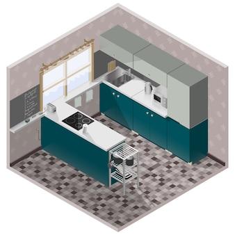 Sala de cozinha moderna isométrica com móveis detalhados e utensílios de cozinha
