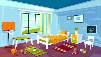 Sala de criança do fundo do interior do quarto do menino da criança.