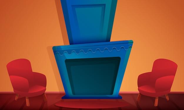 Sala de desenho animado com lareira e cadeiras, ilustração vetorial