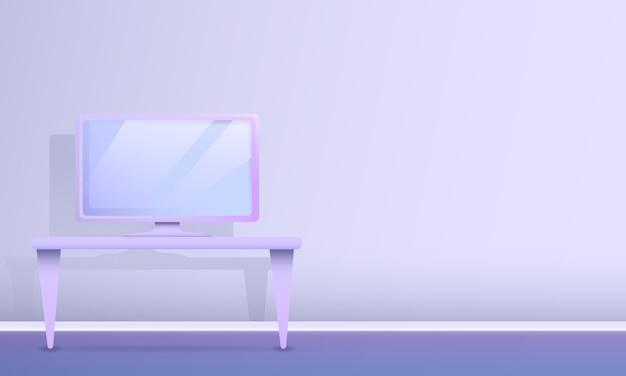 Sala de desenho animado com uma mesa com um computador, ilustração vetorial