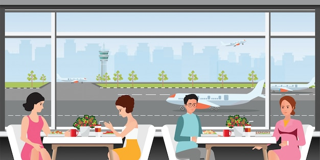 Sala de embarque no aeroporto.