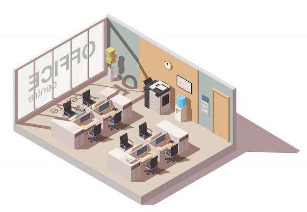 Sala de escritório com locais de trabalho de cubículo e equipamento de escritório