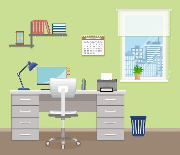 Sala de escritório com móveis e janela. design de interiores do escritório sem pessoas. área de trabalho da sala interior de trabalho.