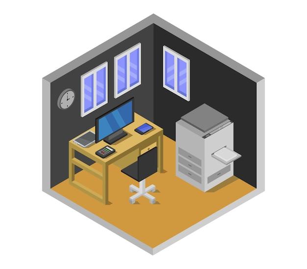Sala de escritório isométrica