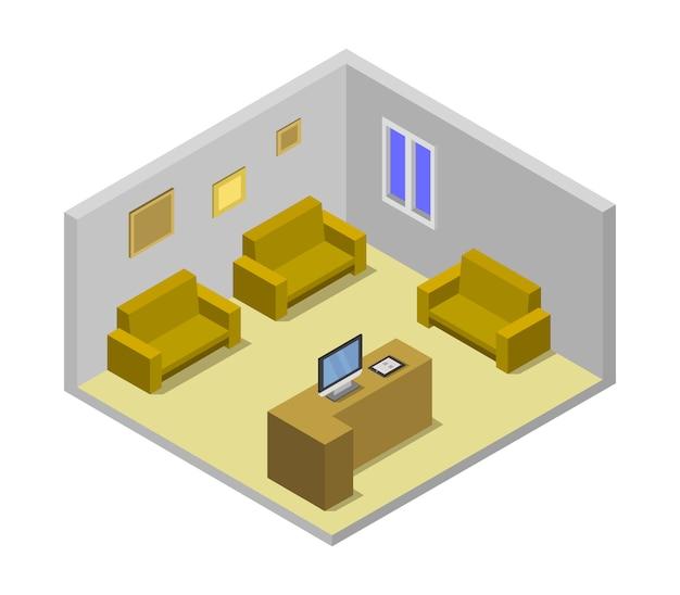 Sala de espera isométrica