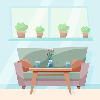 Sala de estar aconchegante com sofá e mesa de jantar