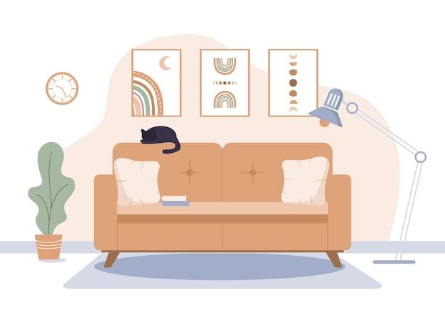 Sala de estar aconchegante em estilo escandinavo moderno.