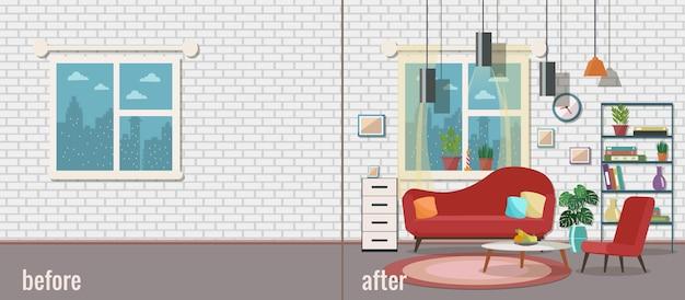 Sala de estar antes e depois da mobília