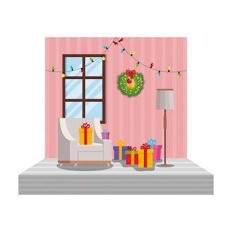 Sala de estar com cena de decoração de natal