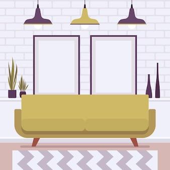 Sala de estar com design e interior de ônibus