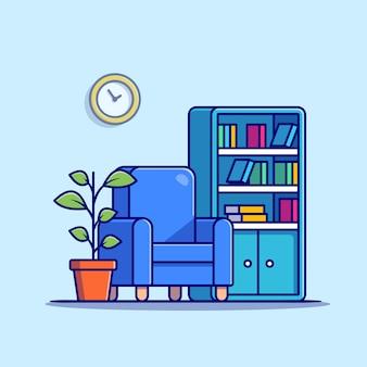 Sala de estar com estante de livros, poltrona e ilustração de plantas