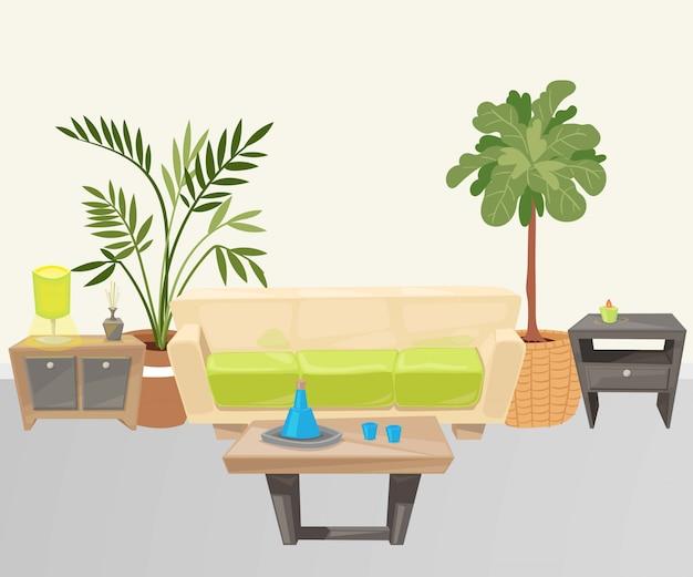 Sala de estar com ilustração dos desenhos animados de móveis.