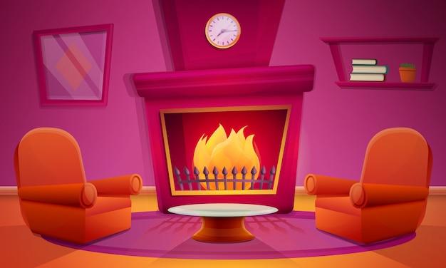 Sala de estar com lareira em estilo cartoon e móveis, ilustração vetorial