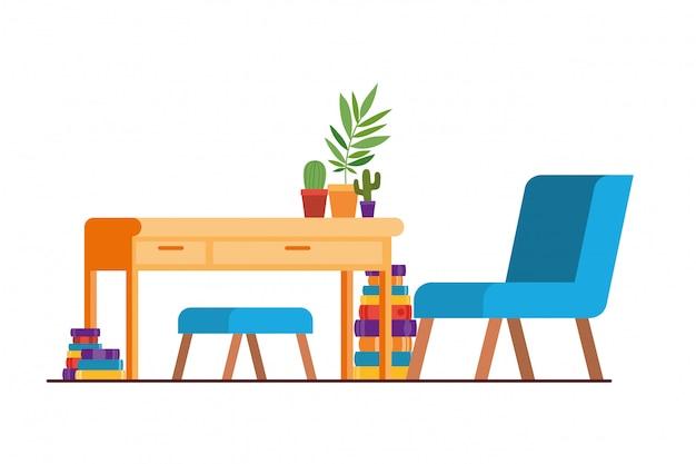 Sala de estar com mesa e livros