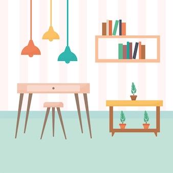 Sala de estar com mesas cheias de livros e plantas, além de um lustre