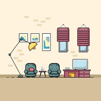 Sala de estar com móveis de design plano