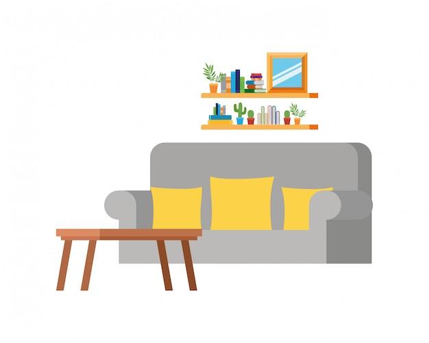Sala de estar com sofá e estante de livros