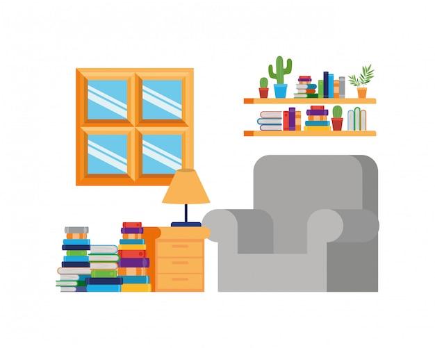 Sala de estar com sofá e pilha de livros