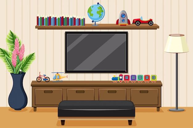 Sala de estar com televisão e brinquedos