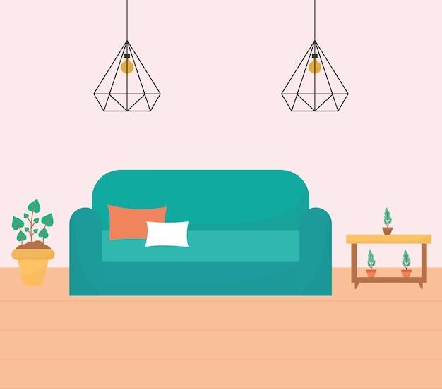 Sala de estar com um sofá, mesas repletas de plantas e lustres