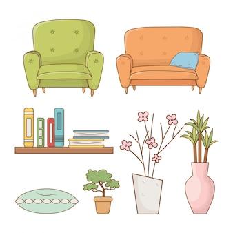 Sala de estar conjunto de elementos ícones isolados